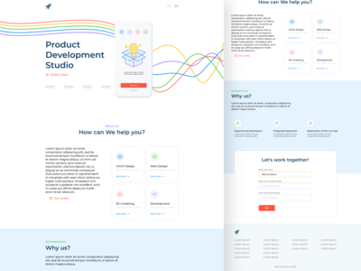 Design for Product Development Studio landing page web studio landing sudio web ui figma adobe xd adobe design