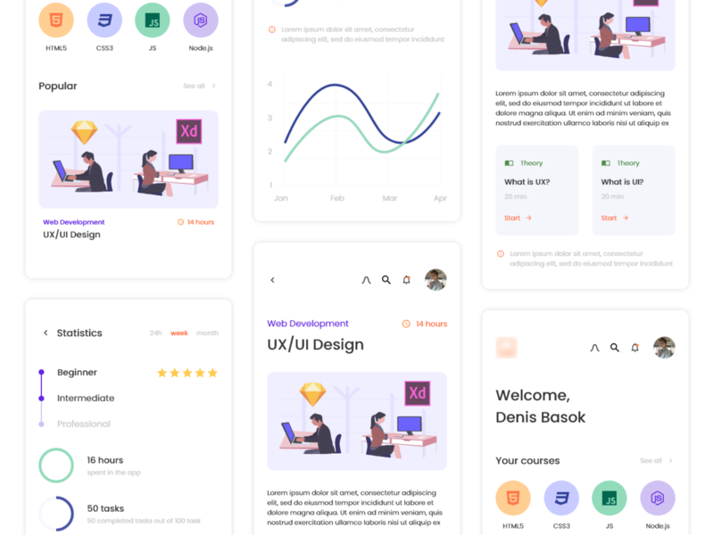 Education App Design course app courses education app ui adobe xd adobe design