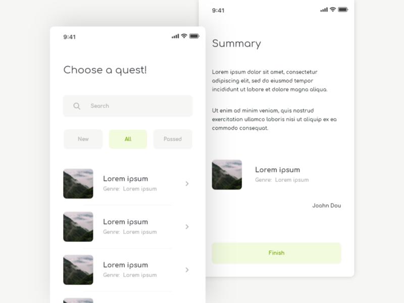 Quest App quest ux ui app design
