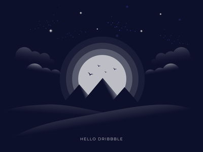 Hello Dribbble debutshot debut desert sand birds stars egypt pyramids sky moon clouds invitation invite hello