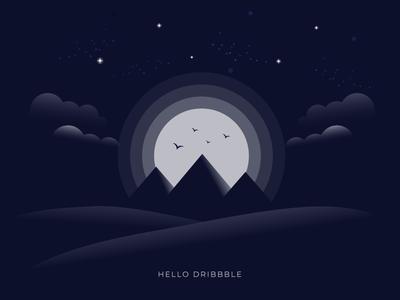 Hello Dribbble debutshot debut desert sand birds stars egypt pyramids sky moon clouds invitation invite hello