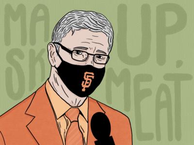 Mask up, Meat face green texture meat broadcast krukow kruk san francisco illustration orange mask giants baseball