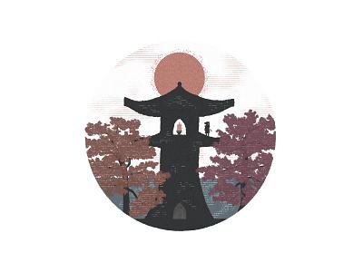 The Ghost of Tsushima lights Kubara Lighthouse playstation texture samarai japanese trees orange red jin sakai sun sunset lighthouse japan sony ghost illustration