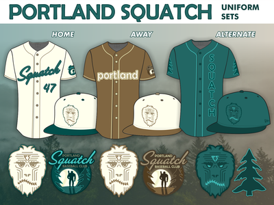 Portland Squatch Baseball Club: Uniform Sets