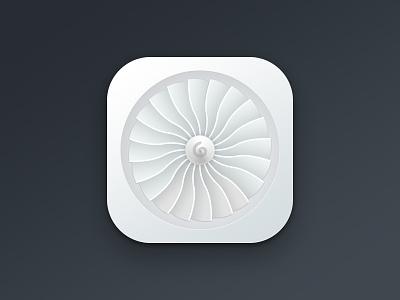 Engine icon ios iphone engine fan air fan realistic jet plane metal