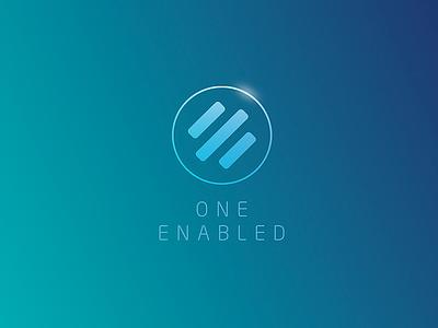 One Enabled Logo branding shiny teal gree blue circle logo