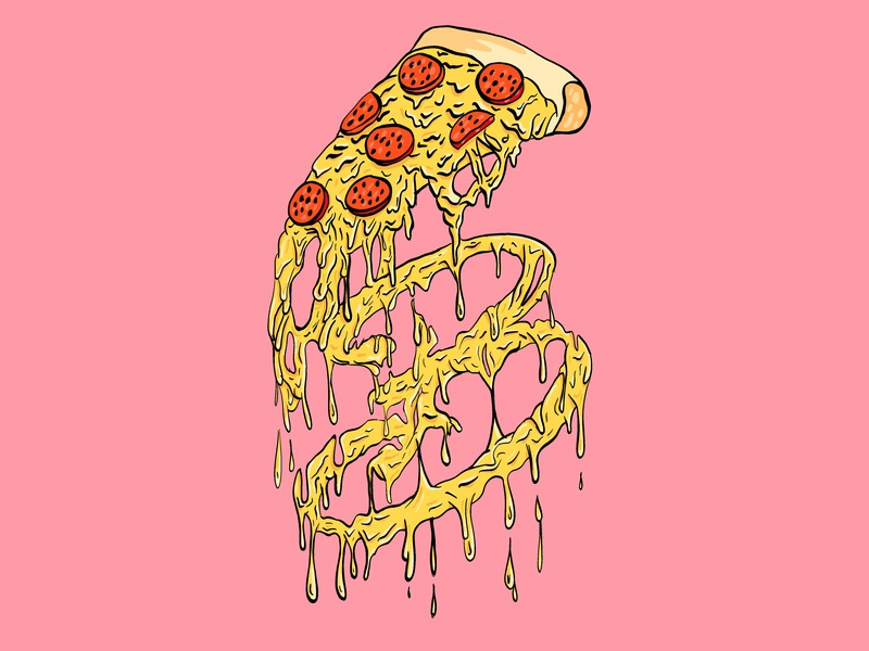 bradapizza pink yellow clothing design streetwear brada draw vector pizza cheese illustrator