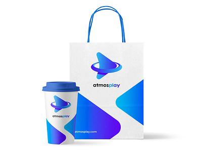 atmosplay branding gradient logo blue paper cup coffee cup brand design app logo branding logo bag