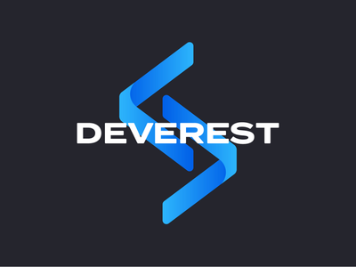 deverest logo and branding type typography arrows gradient blue logo design brand identity branding logo