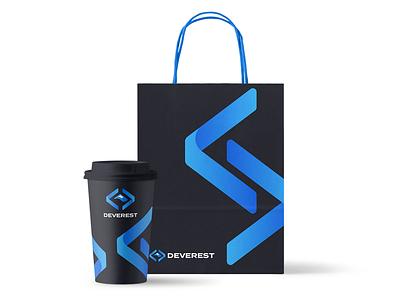 devest brand identity everest mountain hill paper bag coffee cup gradient dark logo brand identity branding identity print
