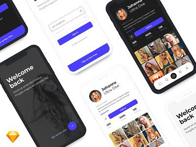 UltraKit - Mobile App UI Kit tab bar ui kit mobile ui kit gui screen welcome login profile social uidesign ux ui mobile ui mobile kit app
