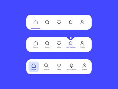 Tab bar menu navigation home search like profile notification blue navigation menu icon set icon menu active navigation design menu design menubar menu nav navigation bar navigation tabbar bar tab