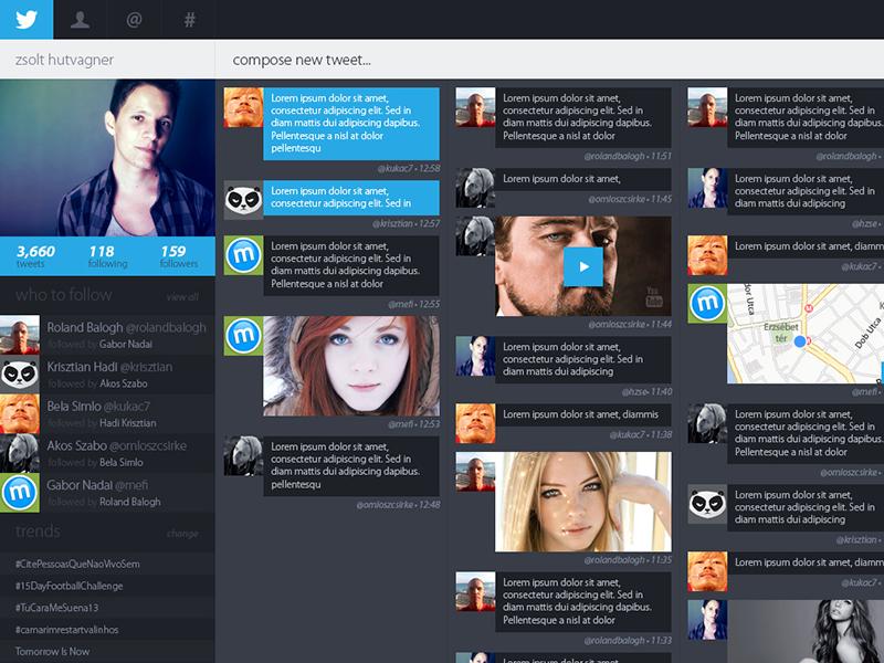 twitter redesign concept twitter redesign concept web design layout dark blue tweet