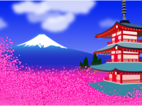 Mt. Fuji & Cherry Blossom/Japan Landscape Illustration