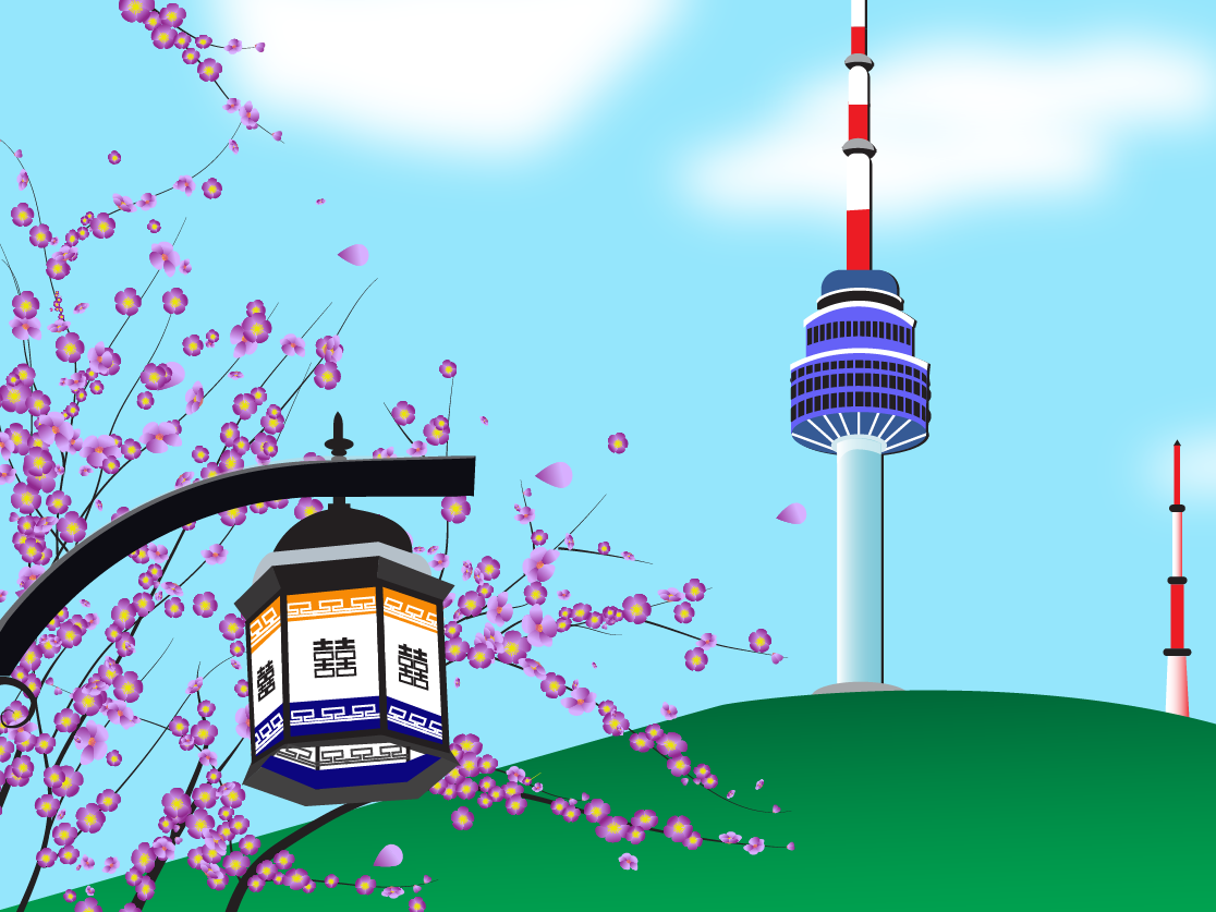 Korea Namsan Tower Illustration korea art photography vector illustrator design illustration