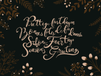 Hand lettered Christmas Card in Four Languages