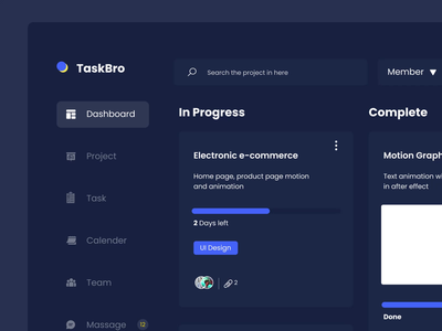 Task Bro - Task Managament Desktop App motion graphics app design web design design uidesign ui