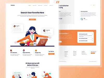 Delivers - Home Page Food Delivery motion graphics app design web design design uidesign ui
