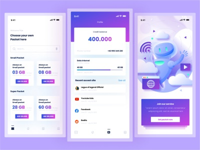 Inet - Internet Provider app illustration app design ui design uidesign