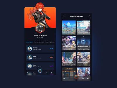 Genshin Impact - Mobile Profile App app design design uidesign ui