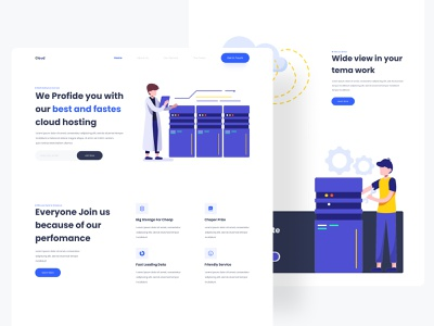Cloud -  Web Hosting App illustration web design design uidesign ui