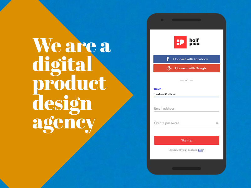 Sign up Page sign sign up signup latest top delhi user experience icon social halfpica app branding vector web dailyui ui faridabad graphic design typography design
