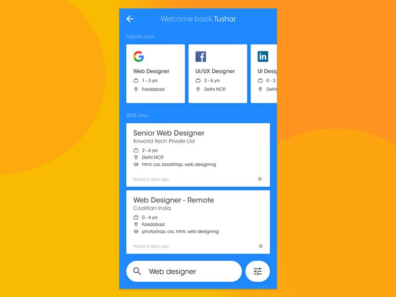 Job Search Result Page guides job app typeface flat branding social mobile app design logic design thinking halfpica branding design graphic design guide grid ux design ui dailyui typography app