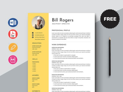 Free Equipment Operator Resume Template design free cv free resume free cv template resume free resume template template free freebies freebie