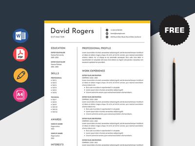 Free Estimator Resume Template design free cv free resume free cv template resume free resume template template free freebies freebie
