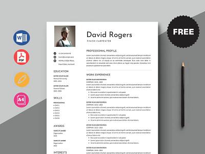 Free Finish Carpenter Resume Template design free cv free resume resume template free freebie freebies free cv template free resume template