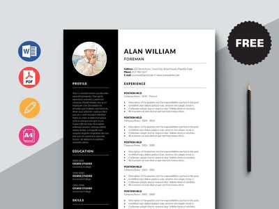 Free Foreman Resume Template design free cv free resume resume template free freebie freebies free cv template free resume template