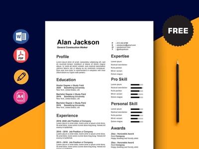 Free General Construction Worker Resume Template design free cv free resume free cv template resume free resume template template free freebies freebie