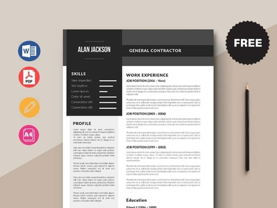 Free General Contractor Resume Template design free cv free resume free cv template resume template free freebies freebie free resume template