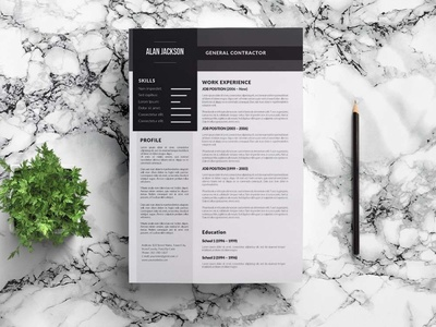 Free General Contractor CV Resume Template design free cv free resume free cv template resume free resume template template free freebies freebie