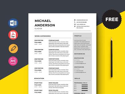 Free Glazier Resume Template design free cv free resume free cv template resume free resume template template free freebies freebie