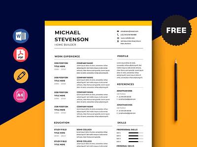 Free Home Builder Resume Template design free cv free resume free cv template resume free resume template template free freebies freebie