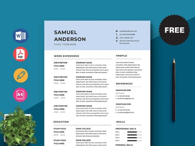 Free Hvac Foreman Resume Template design free cv free resume free cv template resume free resume template template free freebies freebie