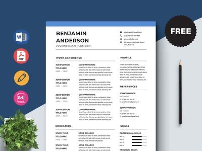 Free Journeyman Plumber Resume Template design free cv free resume free cv template resume free resume template template free freebies freebie