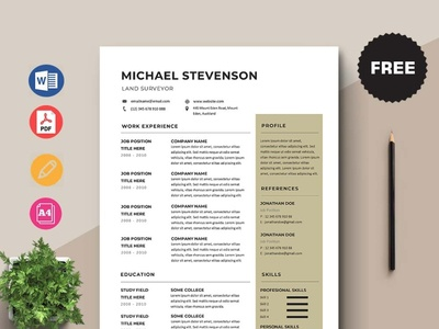 Free Land Surveyor Resume Template design free cv free resume free cv template resume template free freebies freebie free resume template