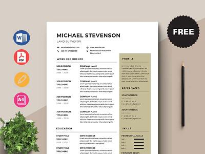 Free Land Surveyor Resume Template design free cv free resume free cv template resume template free freebies freebie free resume template