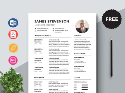 Free Landscape Architect Resume Template free cv free resume free cv template resume freebie psd template free freebies freebie free resume template
