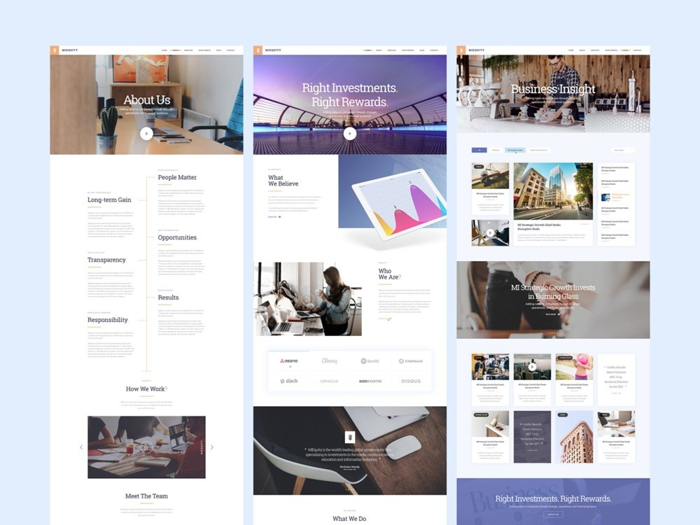 Download Miequity Free PSD Website Template