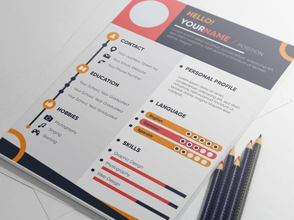 Free Colorful Infographic Resume Template Cv Freebies Freebie Illustrator Eps Ai
