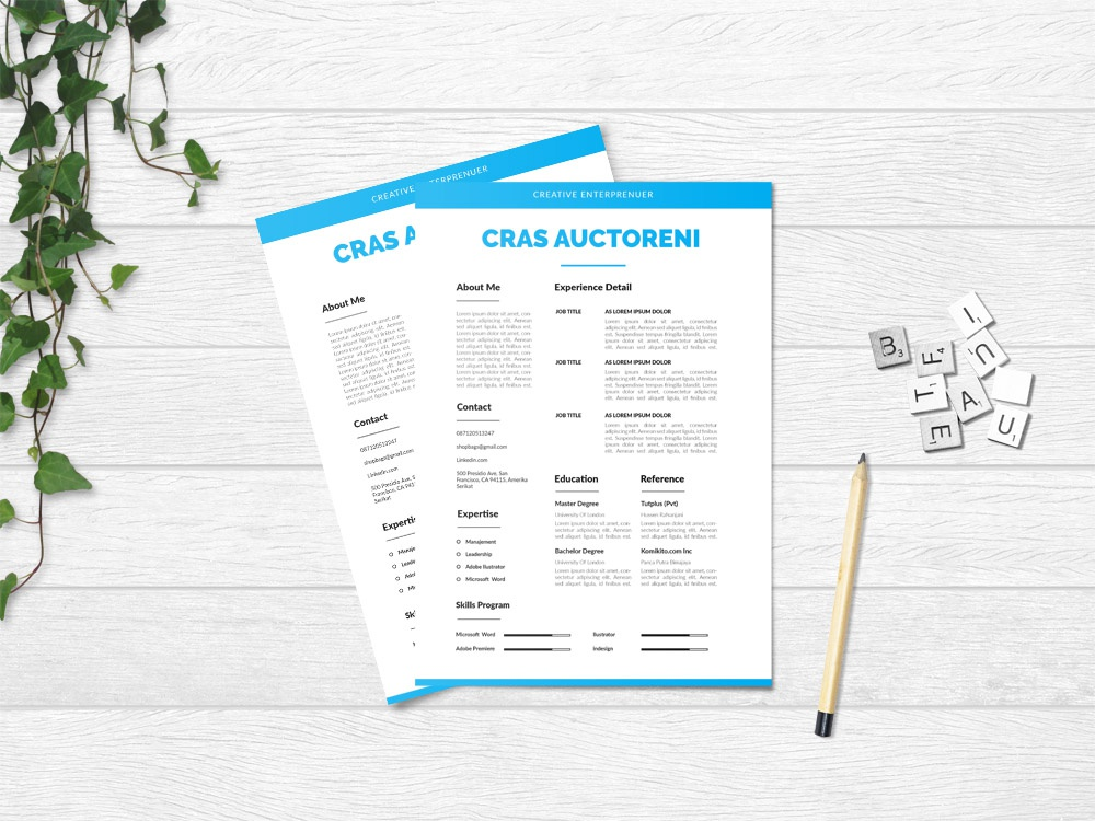 Free Blue Minimal Resume Template by Andy Khan on Dribbble