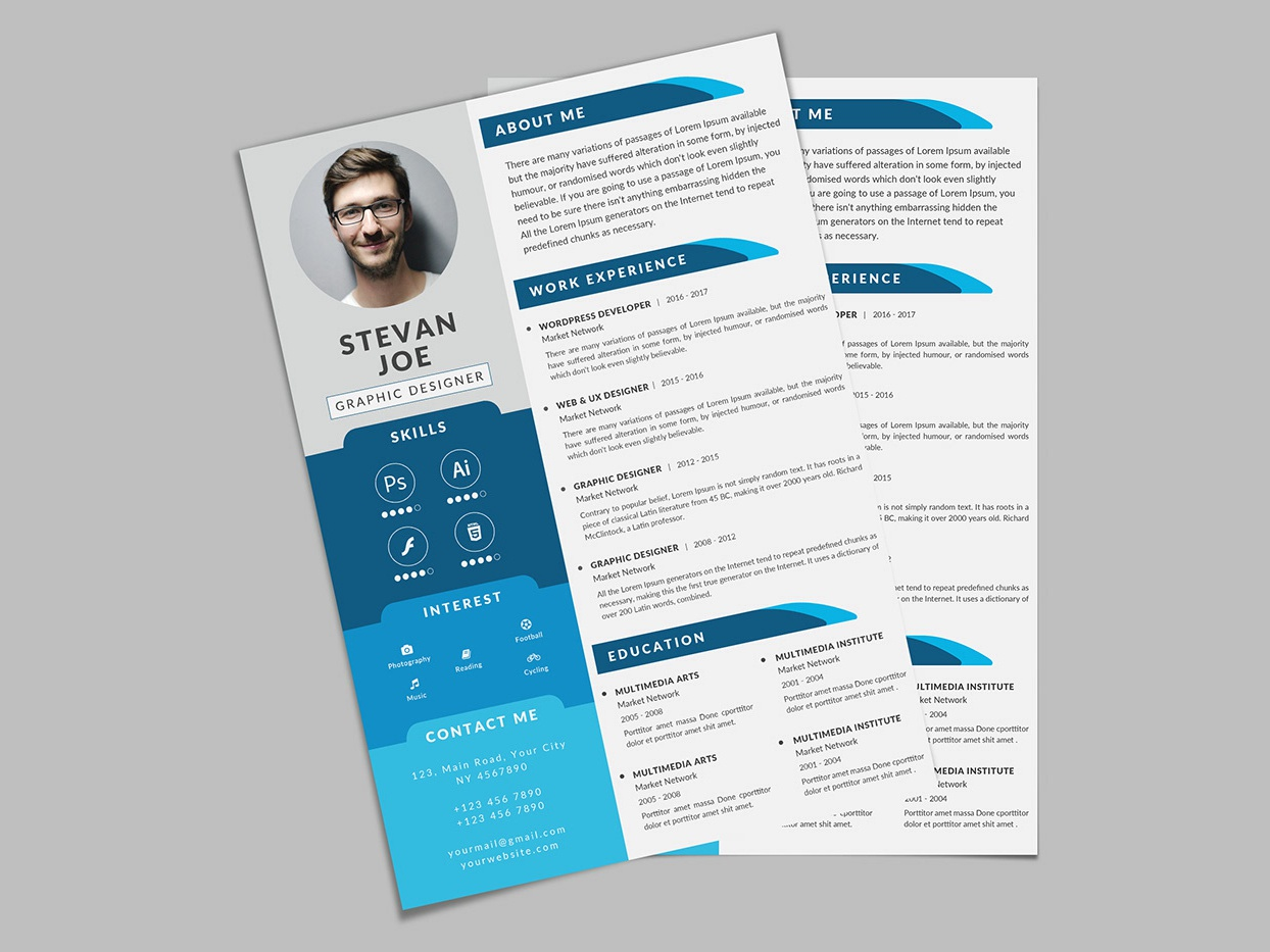 free modern psd resume template by andy khan