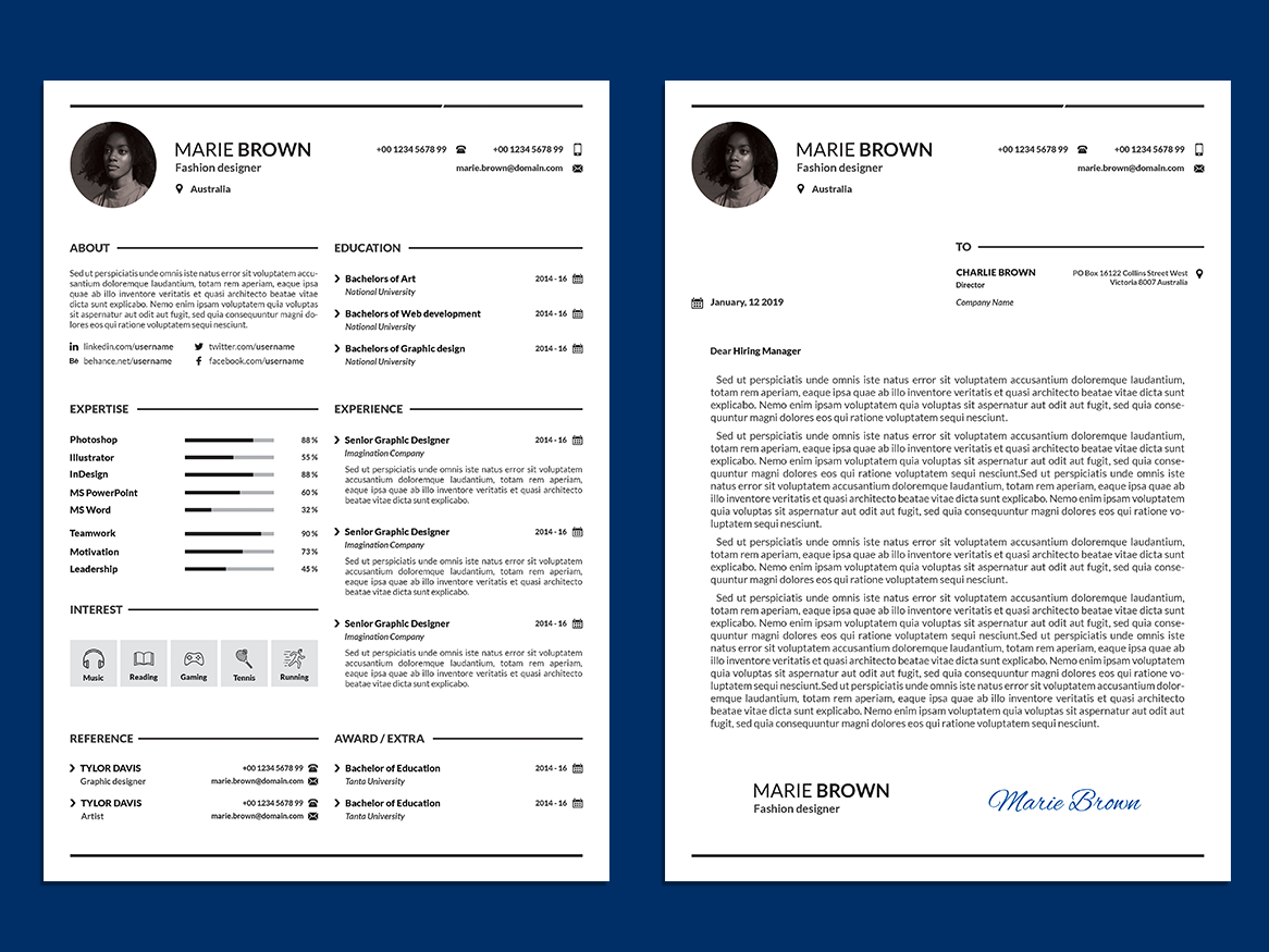 Free Infographic Resume Template With Cover Letter By Andy Khan