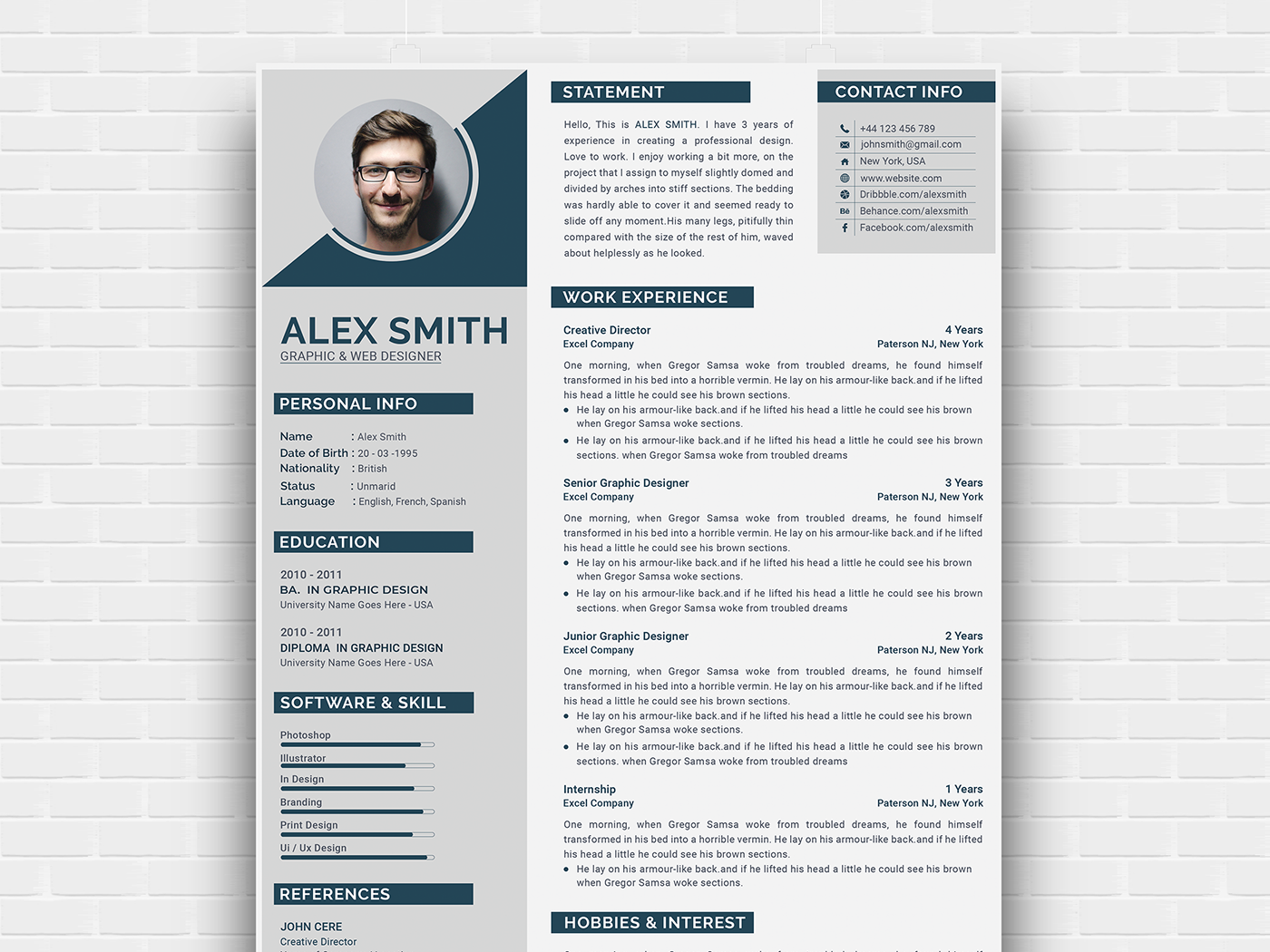 free modern curriculum vitae template by andy khan on dribbble