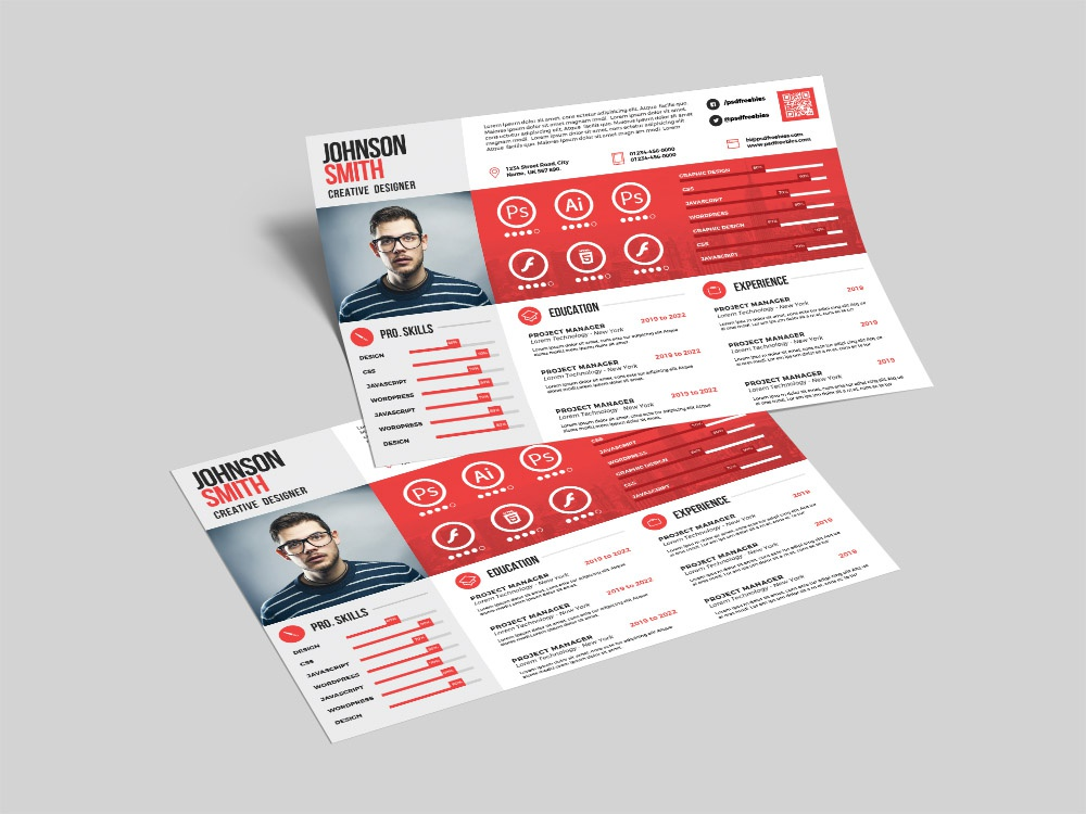 Free Landscape Resume Template By Andy Khan On Dribbble