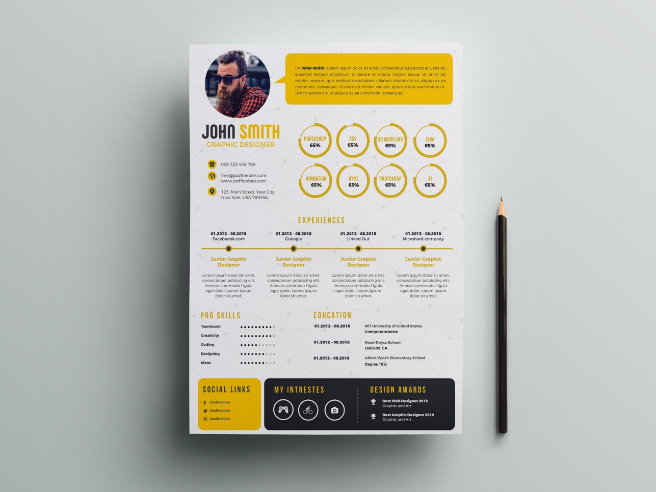 free infographic psd resume template by andy khan