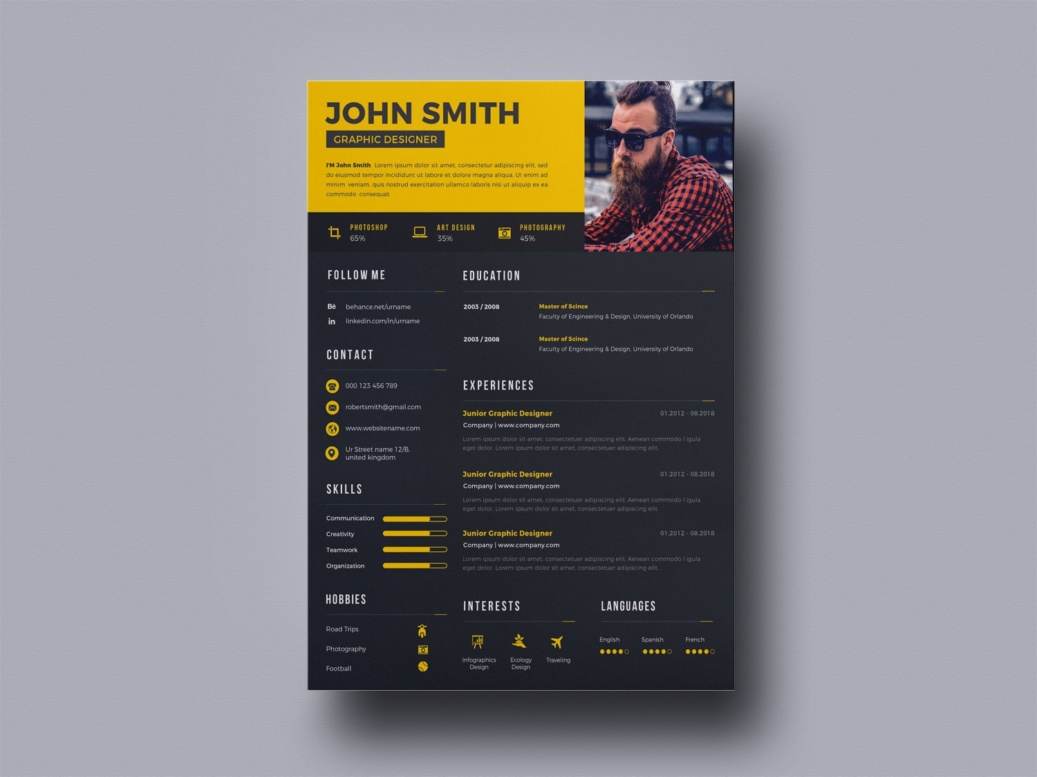 free creative designer resume template by andy khan on dribbble